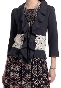 Anthropologie Tie Front Front Pockets Warm Wool Lace Accents Dress Up Or Down Cardigan