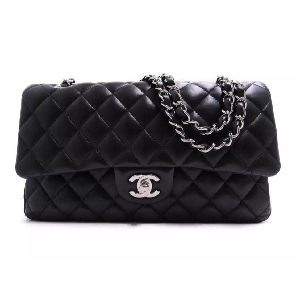 31809531c1741 Chanel 2.55 Reissue Classic Medium Silver Hardware Double Flap Black  Lambskin Leather Shoulder Bag
