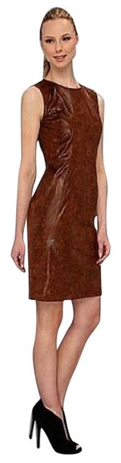Item - Brown Sleeveless Stretch Faux Leather Mid-length Work/Office Dress Size 2 (XS)