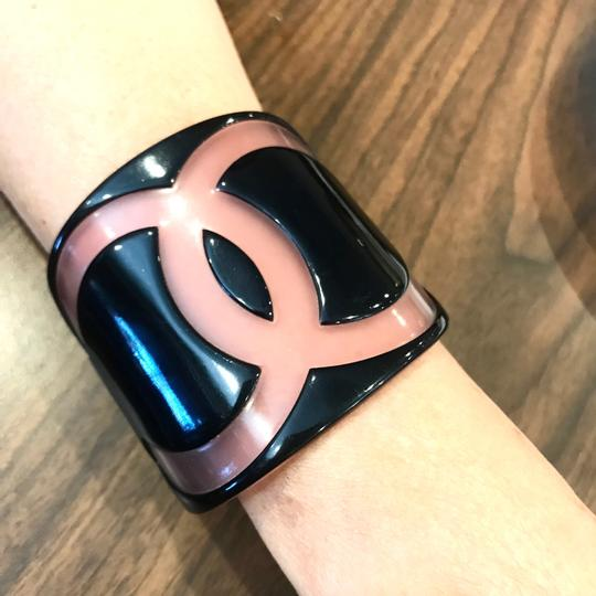 Chanel Black Pink Thick Cuff Bracelet Collectors Item