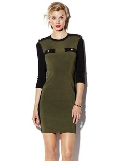 Vince Camuto Sweater Faux Pockets Military Epaulets Brass Buttons Dress