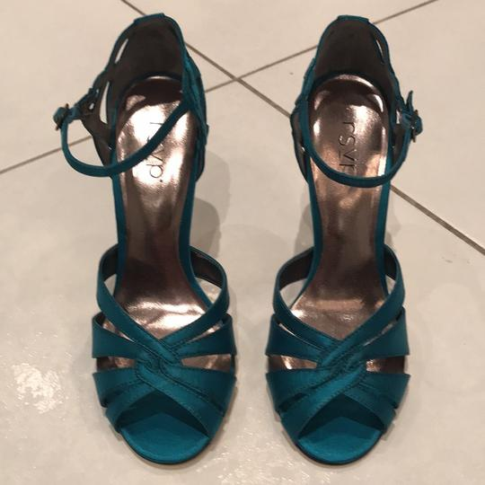 RSVP Stiletto Night Out Teal Satin Formal