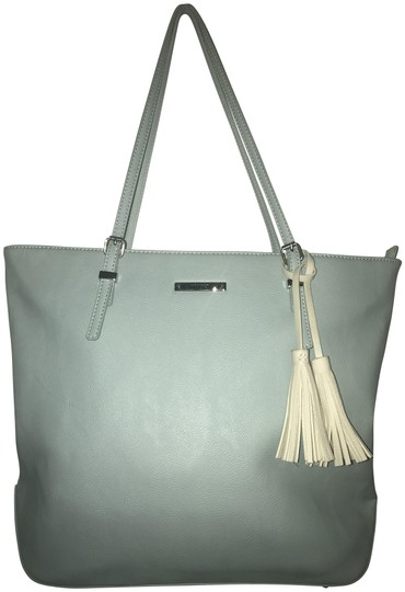 Nine West Leather Silver Hardware Zip Top Lettering Plate Multi-pocket Tote in Heritage Blue with white tassel