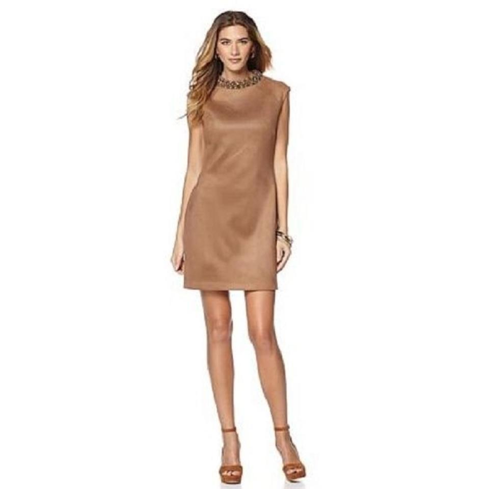 e9013ab7954 Vince Camuto Camel Beaded Collar Faux Leather Suede Shift Work Office Dress