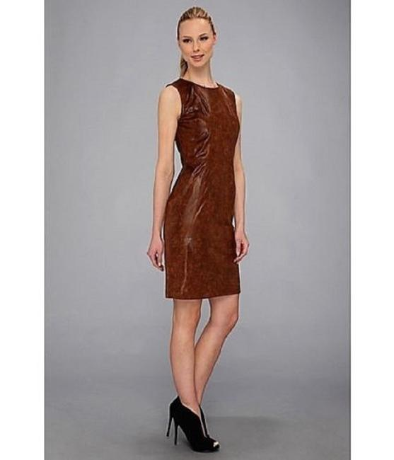 Vince Camuto Faux Leather Sleeveless Lined Dress