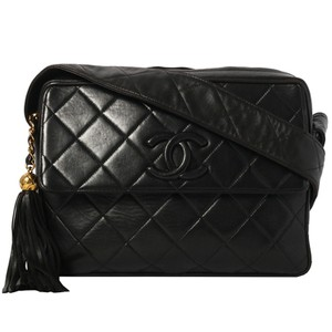 74542a77579a Added to Shopping Bag. Chanel Vintage Quilted Tassel Cross Body Bag. Chanel  Camera Vintage Quilted Tassel Black Lambskin Leather ...