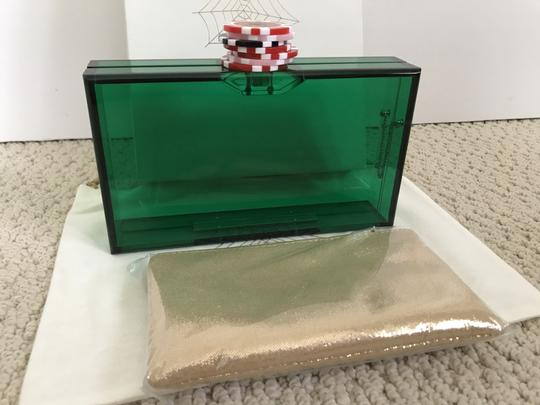Charlotte Olympia Logo Poker Chip Green Clutch