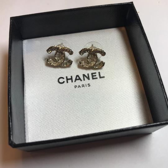 Chanel Chanel Gold Pierced Studs Earrings CC Logo Grey and Clear Crystals