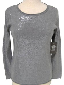 Vince Camuto Sequin Embellished Longsleeve Silver Sweater