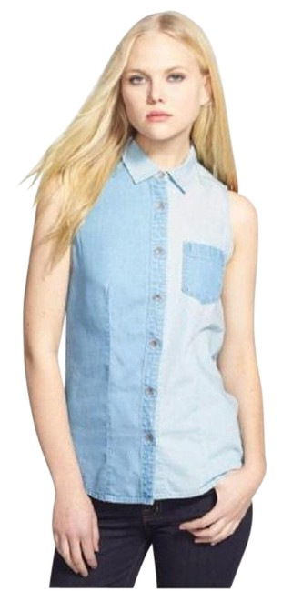 Preload https://img-static.tradesy.com/item/23495092/vince-camuto-blue-classic-western-jean-shirt-vest-blouse-size-2-xs-0-1-650-650.jpg
