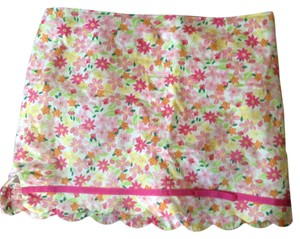 Lilly Pulitzer Fun Mini Fun Summer Green Floral Mini Skirt Pink orange yellow