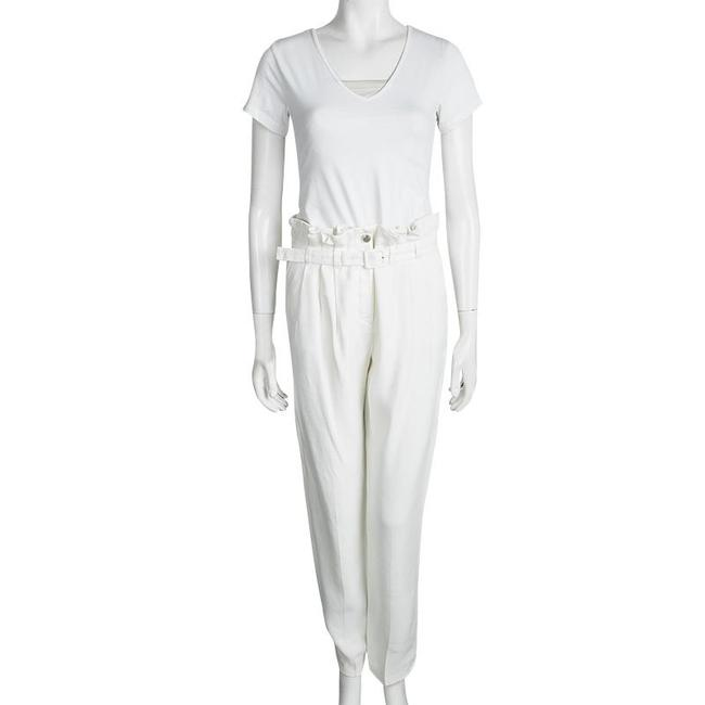 Roberto Cavalli Pleated Detail Belted Silk Viscose Trouser/Wide Leg Jeans-Light Wash