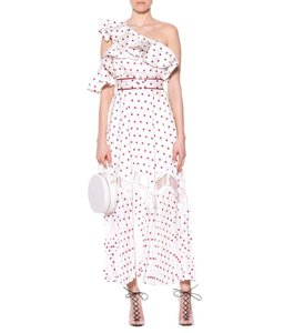 self-portrait Frill Satin Polka Dot One Shoulder Dress