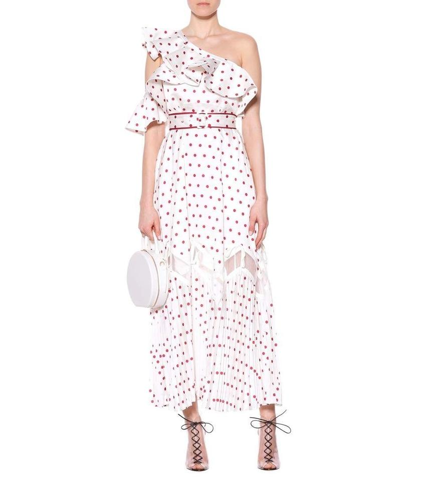2be4b4f69c82 self-portrait New with Tags Frill Satin Polka Dot Long Cocktail ...