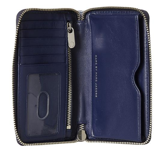 Marc Jacobs Navy Denim Button Sueded Leather Wingman Wristlet Wallet