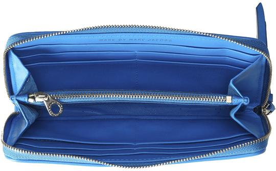 Marc Jacobs On the Dot Blue Glow Perforated Leather Slim Zip Wallet