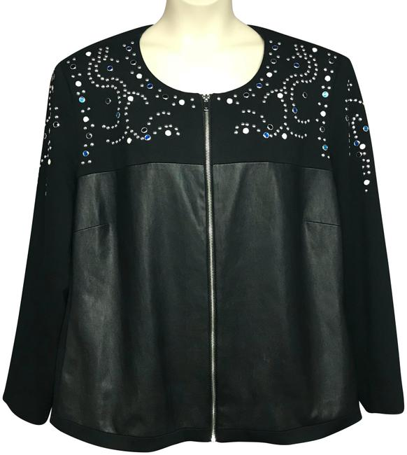 Preload https://img-static.tradesy.com/item/23495528/peter-nygard-black-woman-faux-leather-trim-studded-jacket-blazer-size-26-plus-3x-0-1-650-650.jpg