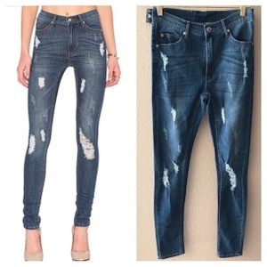 Cheap Monday second skin skinny distressed jeans Skinny Jeans-Distressed