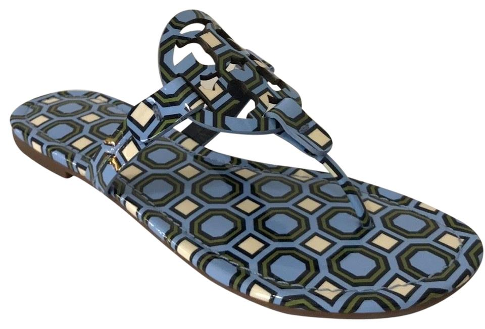 2973bc7fe Tory Burch Blue Miller Sandal Light Chambray Octagon Patent Leather ...