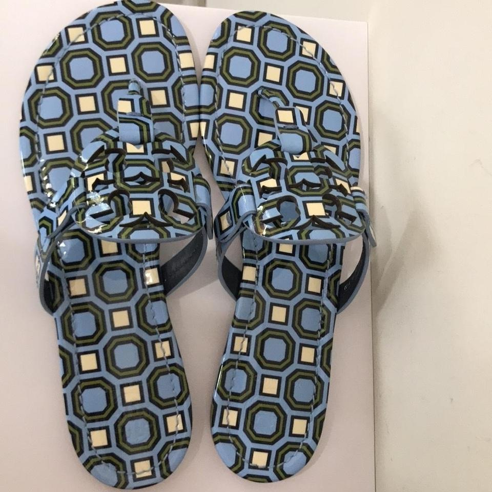 8526305c5706d4 Tory Burch Blue Miller Sandal Light Chambray Octagon Patent Leather ...