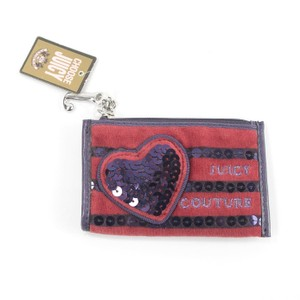 Juicy Couture Velour Red Purple Sequin Heart Embroidered Logo Coin Purse