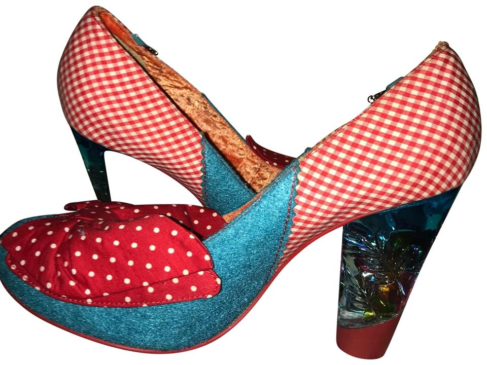 Irregular Choice Blue and Red Bow Pumps Size US 9 (M 956b80586