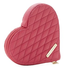 Rebecca Minkoff Quilted Zest Pink Leather Heart Coin Purse Mini Wallet