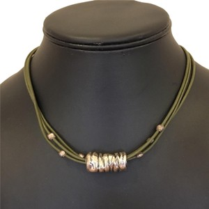Silpada Authentic SILPADA choker with sterling silver slide pendant and accent beads on triple layer dark green leather cord