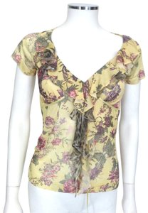 Roberto Cavalli Top Yellow with Green Floral print