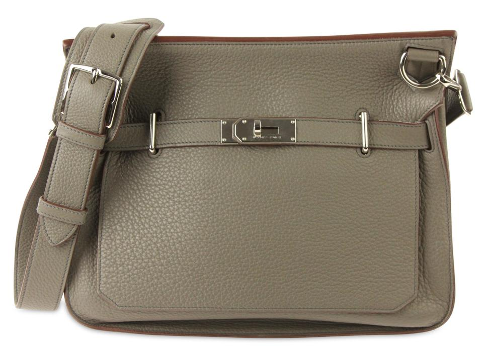 e7b6c00b0b Hermès Jypsiere Clemence 34 Grey Leather Shoulder Bag - Tradesy