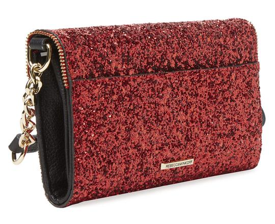 Rebecca Minkoff Womens Cherry Chunky Glitter Cleo Chain Wallet Crossbody