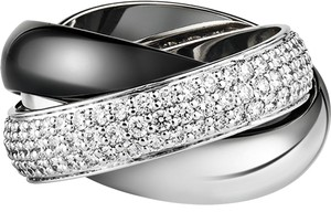 Cartier Cartier Trinity Ring Ceramic LM White Gold Diamonds Ceramic sz 51/6.5