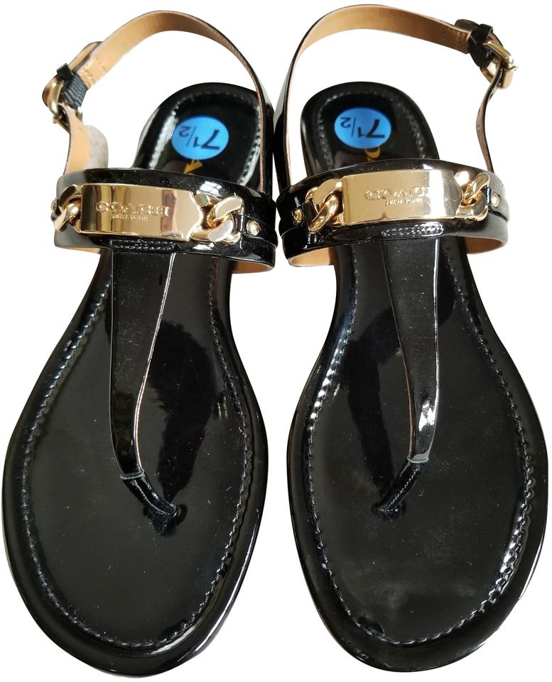 ebf07c9a5cb1 Coach Black Patent Caterine Sandals Size US 7.5 Regular (M