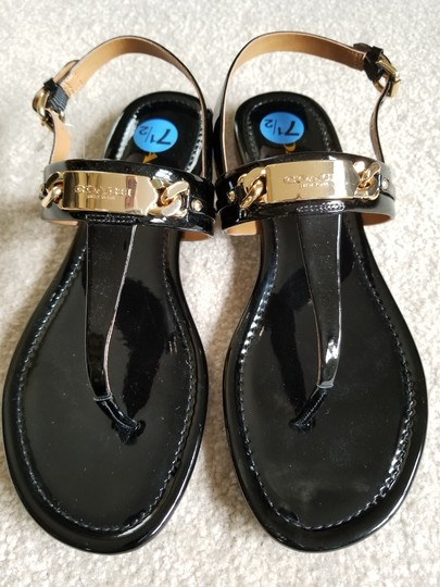 Coach Leather Wedge Heel Caterine Black patent Sandals