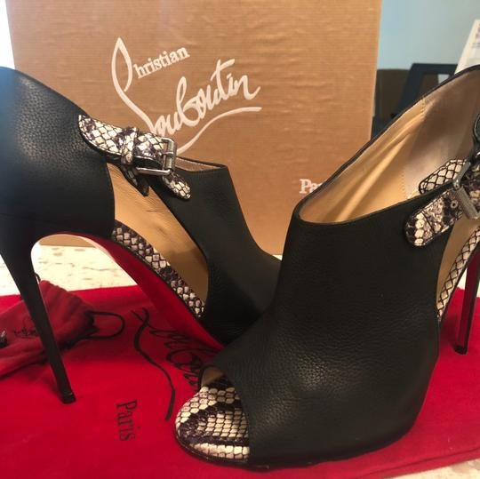 Christian Louboutin black with snakeskin Boots
