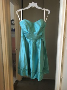 Alfred Angelo Turquoise Silk Feminine Bridesmaid/Mob Dress Size 8 (M)