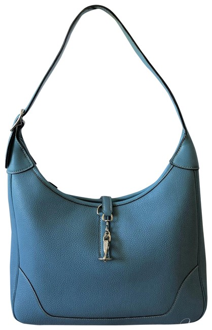Item - Trim Blue Leather Hobo Bag
