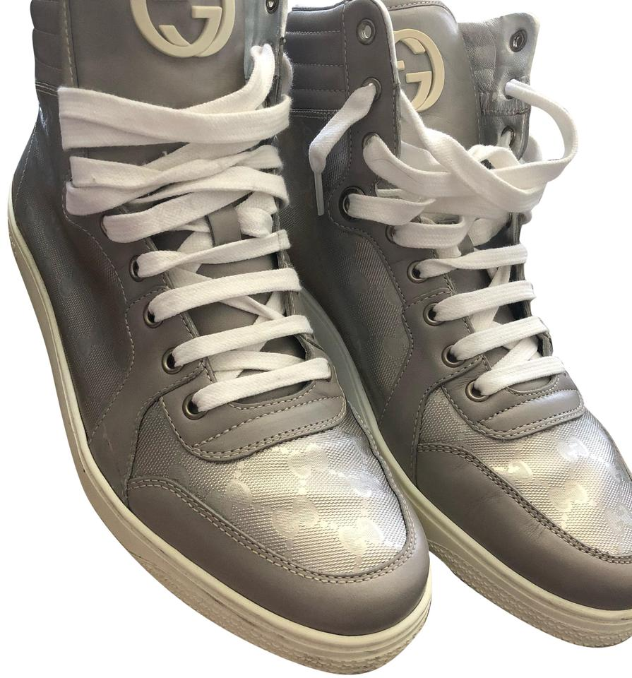 1cc937b8a6c Gucci Silver Monogram Hightop Leather Sneakers Size US 11 Regular (M ...