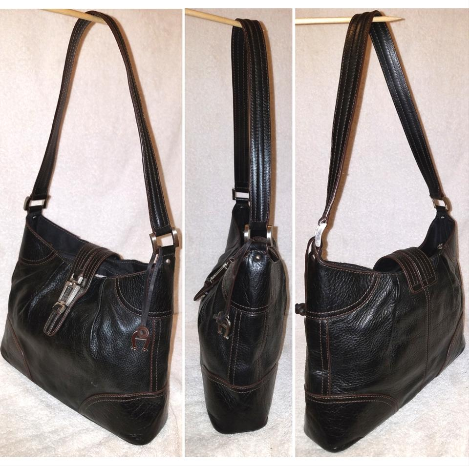 d6de6422f9 Etienne Aigner Handbag with A Strap Cover Black Leather Shoulder Bag ...