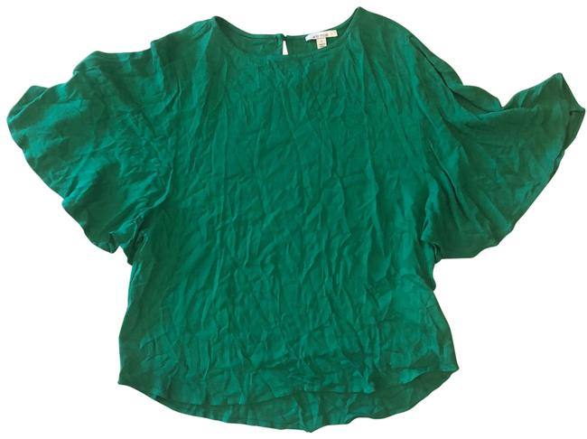 Item - Green Bell Sleeves Silk Like Blouse Size 4 (S)