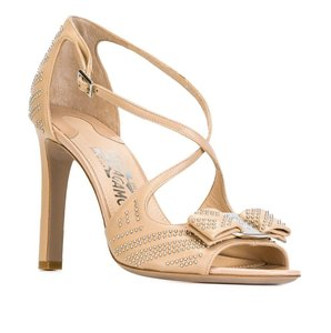 Salvatore Ferragamo Made In Italy Luxury Designer Ankle Strap Vara Bow Studded Nude (New Bisque) Sandals