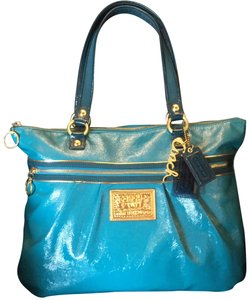 Coach Poppy Mermaid Patent Leather Tote in Teal