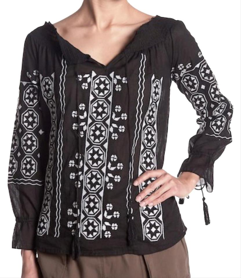2c55b5e7ae0869 Romeo & Juliet Couture Black White Embroidered Peasant Blouse Size 8 ...