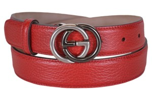 Gucci Red Textured Leather Interlocking 2 Tone Gg Buckle 295704 Belt 100 40 Men's Jewelry/Accessory
