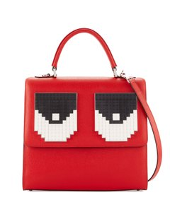 les petits joueurs Made In Italy Shoulder Alex Trompe L'oeil Lego Eyes Saffiano Leather Satchel in Red
