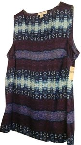 Coldwater Creek Casual Date Night Night Out Top Multi - blues, purple, white print