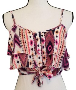 Charlotte Russe Crop Aztec Geometric And White Tie Crop Top Pink