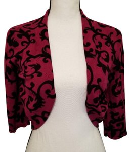 Larry Levine Wine Open Front Cropped Cropped Open Front Cardigan