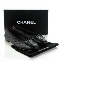 Chanel Quilted Ballerina Leather Cap Black Flats