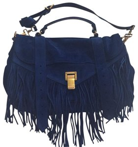 Proenza Schouler Ps1 Medium Ps1 Suede Fringe Fringe Satchel in Blue